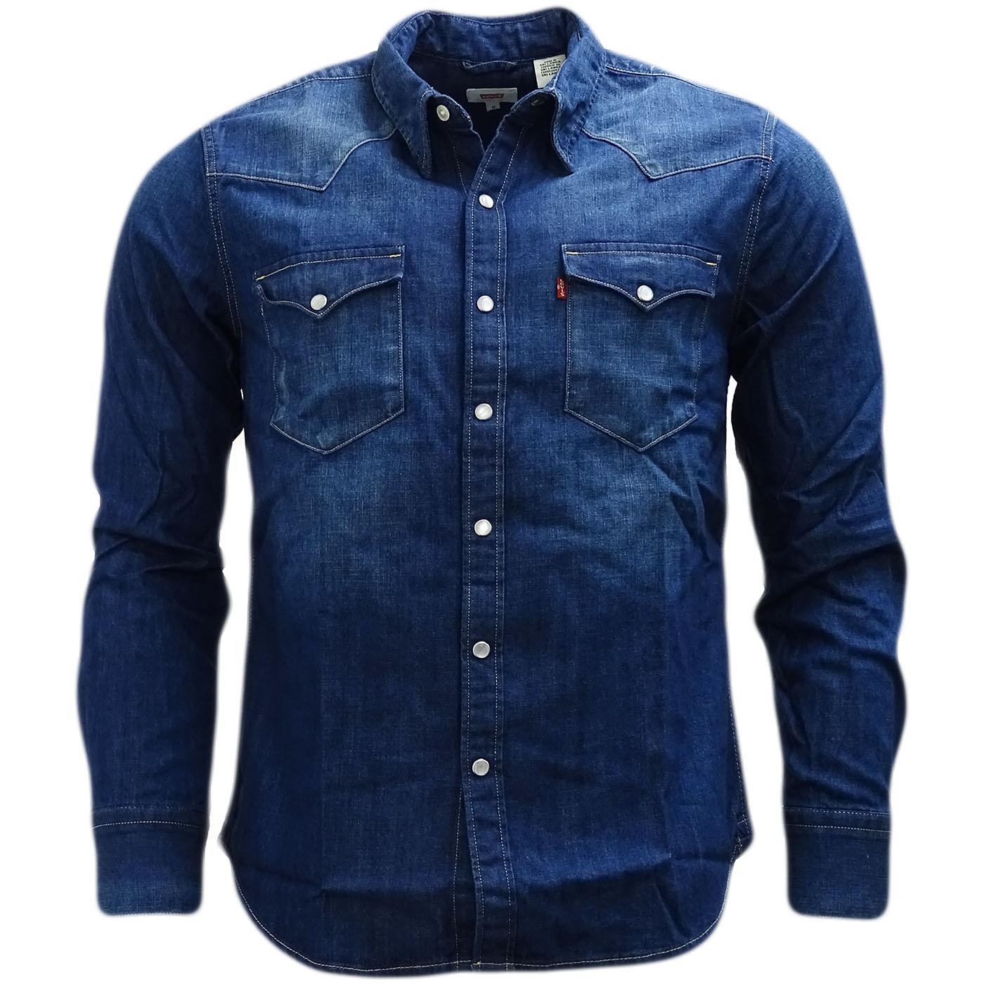 Chemise Jeans Levis tout levi strauss western shirt / popper front denim shirt - 65816 | ebay