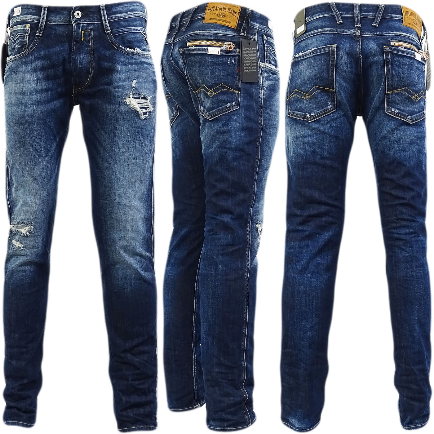 03217d8cc3754d Sentinel Replay Blue Jean - Anbass Slim Fit Frayed And Ripped Denim Pant -  Mc914.61C