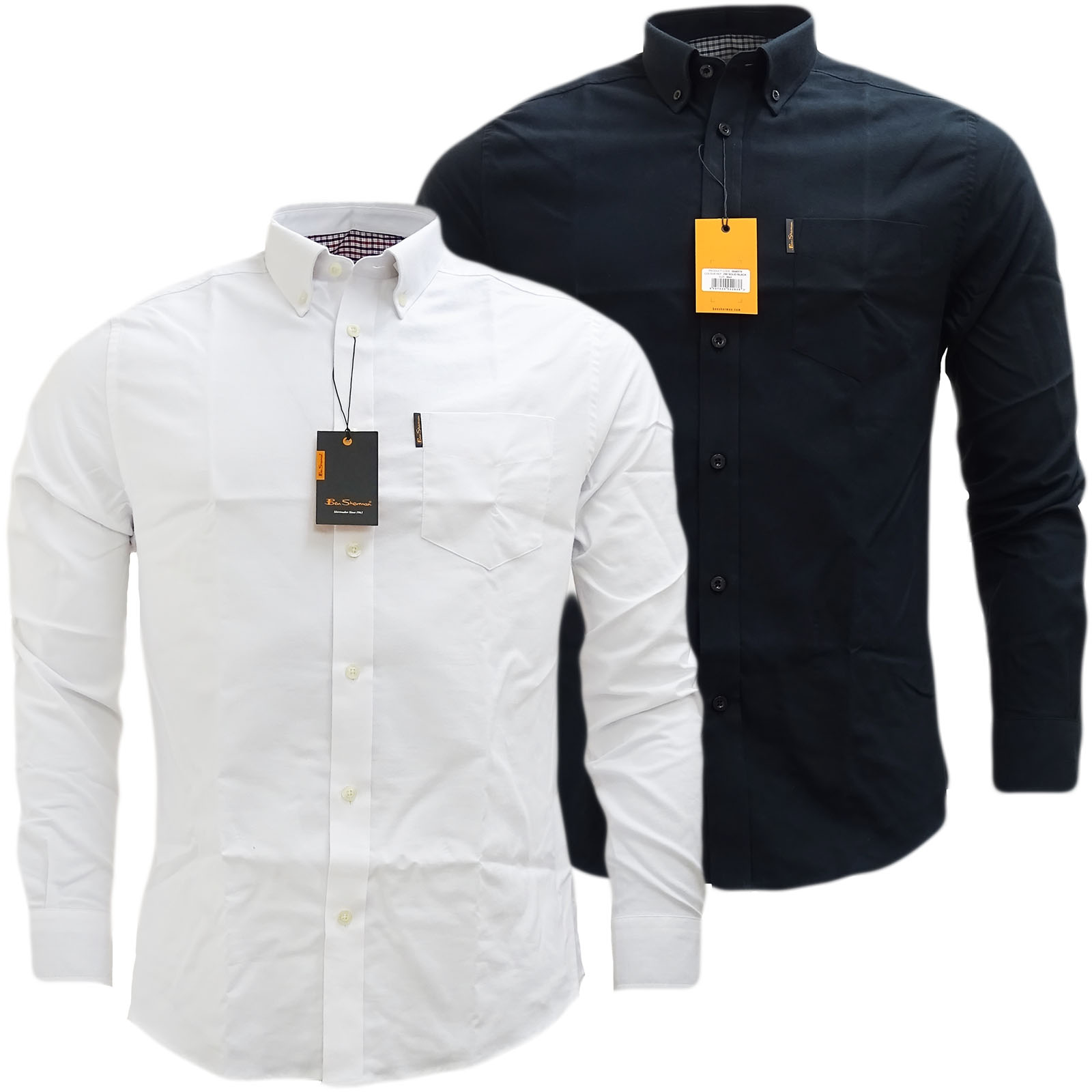 Ben Sherman Plain Oxford With Check Under Cuffs Shirt 48578