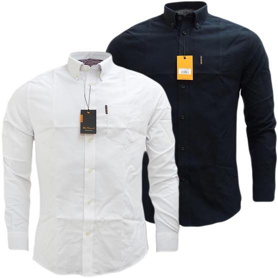 Ben Sherman Plain Oxford With Check Under Cuffs Shirt 48578 Thumbnail 1