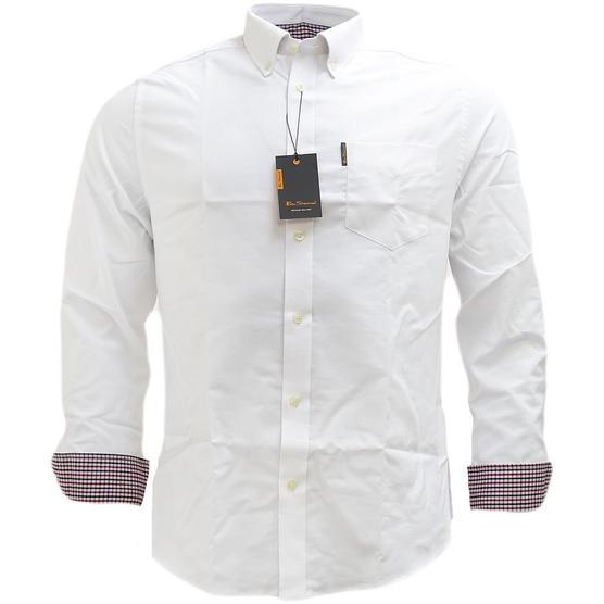 Ben Sherman Plain Oxford With Check Under Cuffs Shirt 48578 Thumbnail 5
