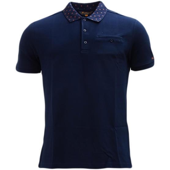 Ben Sherman Navy Target Collar Design Polo Shirt 48282 - Thumbnail 1