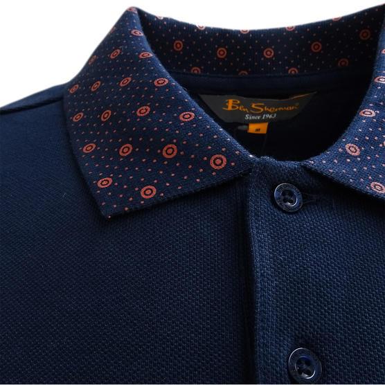 Ben Sherman Navy Target Collar Design Polo Shirt 48282 - Thumbnail 3