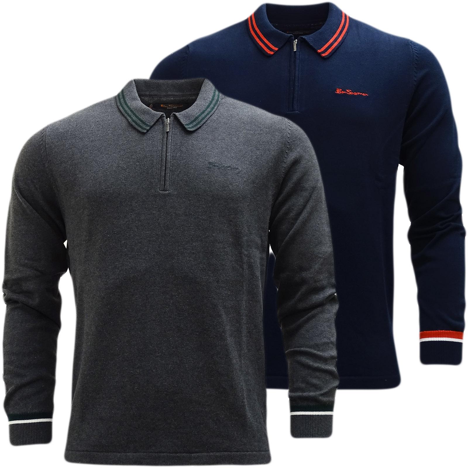ben sherman knitted long sleeve polo shirt 48618 ben sherman mr h menswear. Black Bedroom Furniture Sets. Home Design Ideas