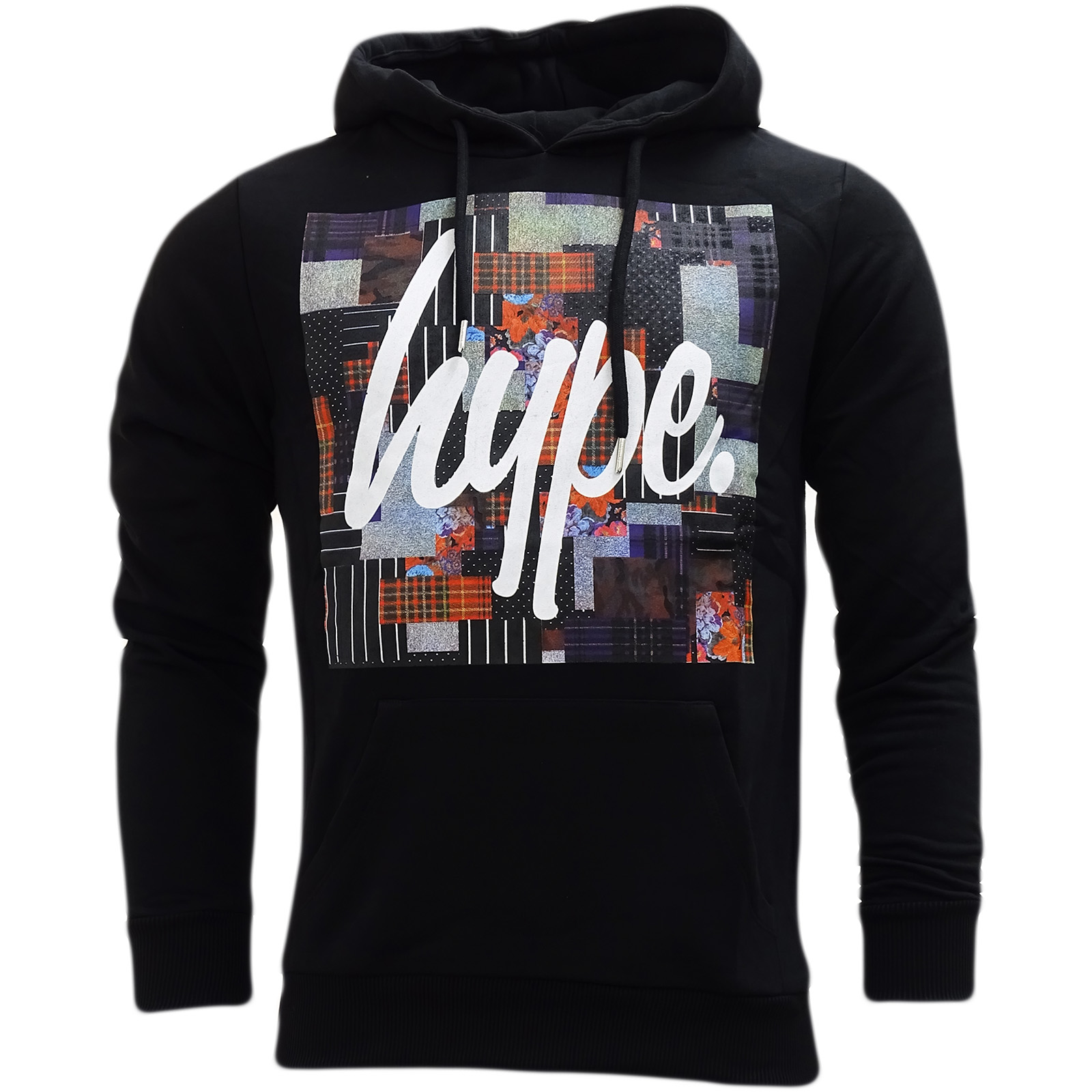 Hype Black Overhead Hooded Sweatshirt Jumper Patch Square -