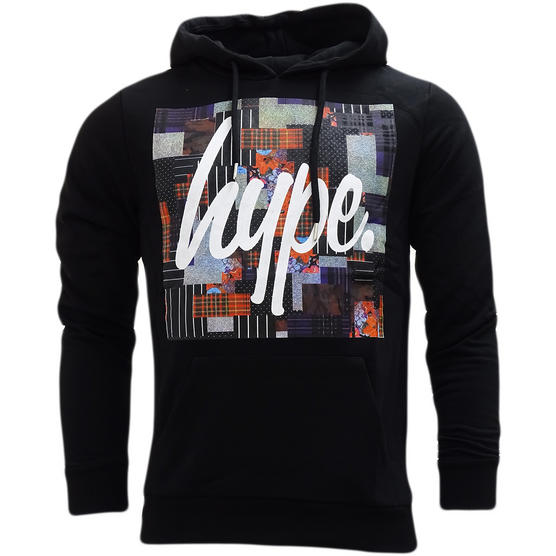 Hype Black Overhead Hooded Sweatshirt Jumper Patch Square - Thumbnail 1