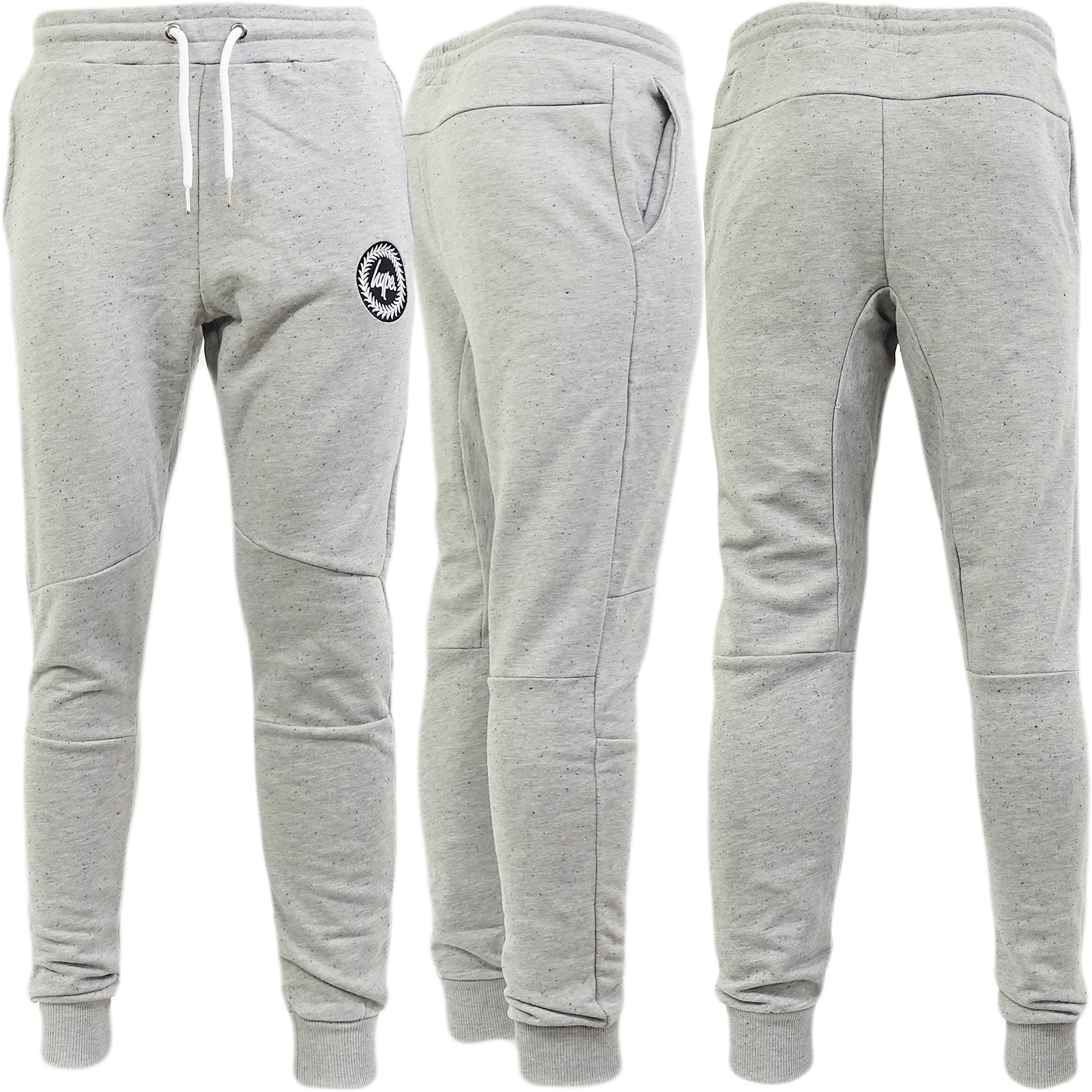 Hype Grey Speckled Slim Fit Tapered Jogger / Sweatpant Flec Crest -