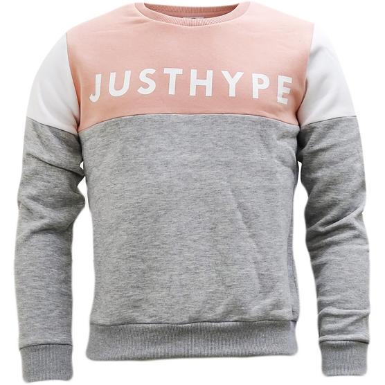 Hype Pink / Grey Womens / Girls Block Panel Sweatshirt Jumper Flip Panel 123 - Thumbnail 1