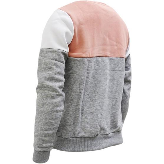 Hype Pink / Grey Womens / Girls Block Panel Sweatshirt Jumper Flip Panel 123 - Thumbnail 2