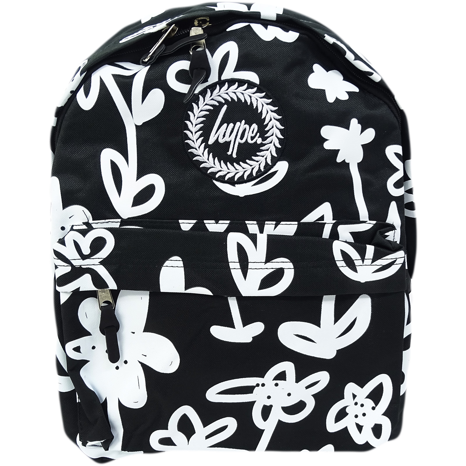 Hype Black / White Backpack / Rucksack Bag Hand Style Floral