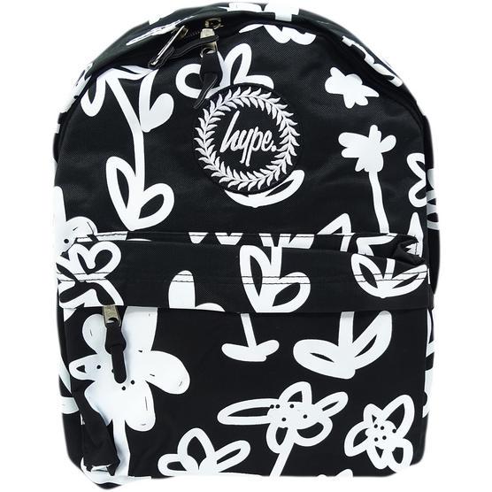 Hype Black / White Backpack / Rucksack Bag Hand Style Floral Thumbnail 1