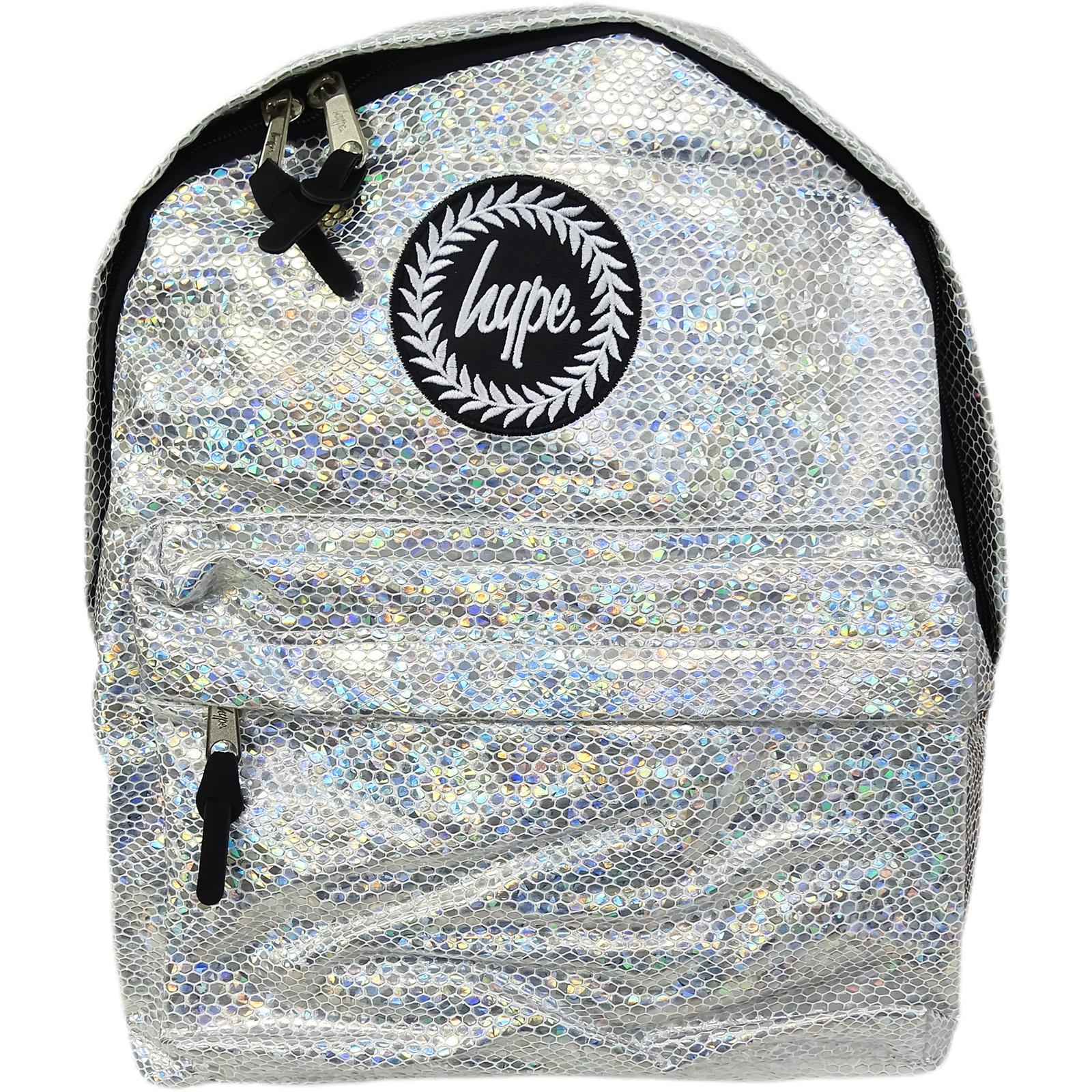 Hype Silver Backpack / Rucksack Bag Glitter Snake