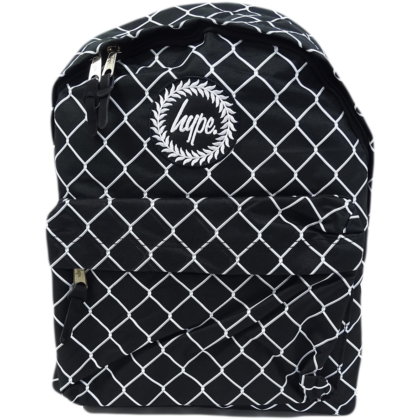 Hype Black / White Backpack Bag Mesh Fence