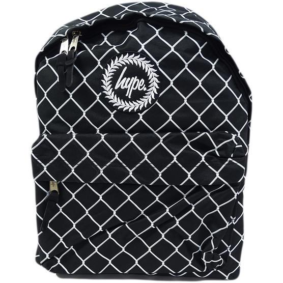 Hype Black / White Backpack Bag Mesh Fence Thumbnail 1
