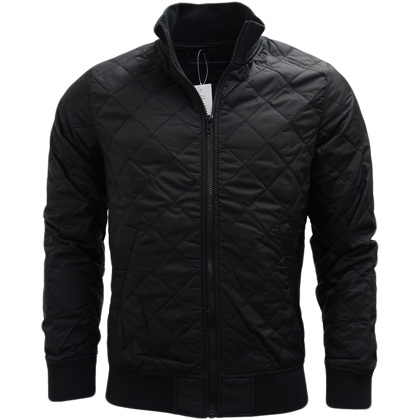 96ce26937ba Sentinel French Connection Black Lightweight Diamond Stitch Jacket / Outerwear  Coat - 55A