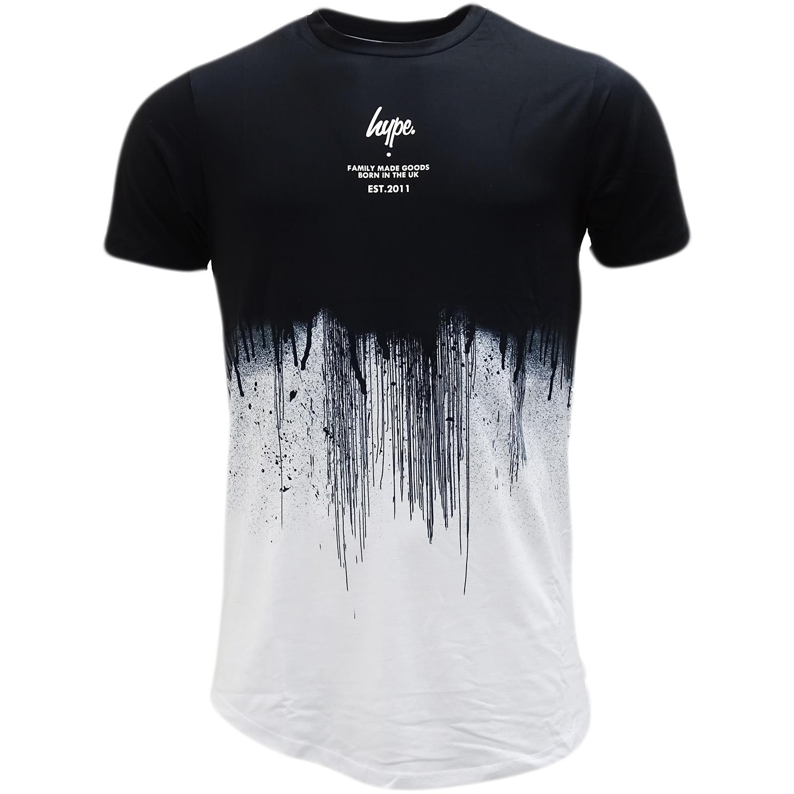 590fb4bdcd3 Sentinel Hype Black   White Curved Hem T-Shirt - Half Drips