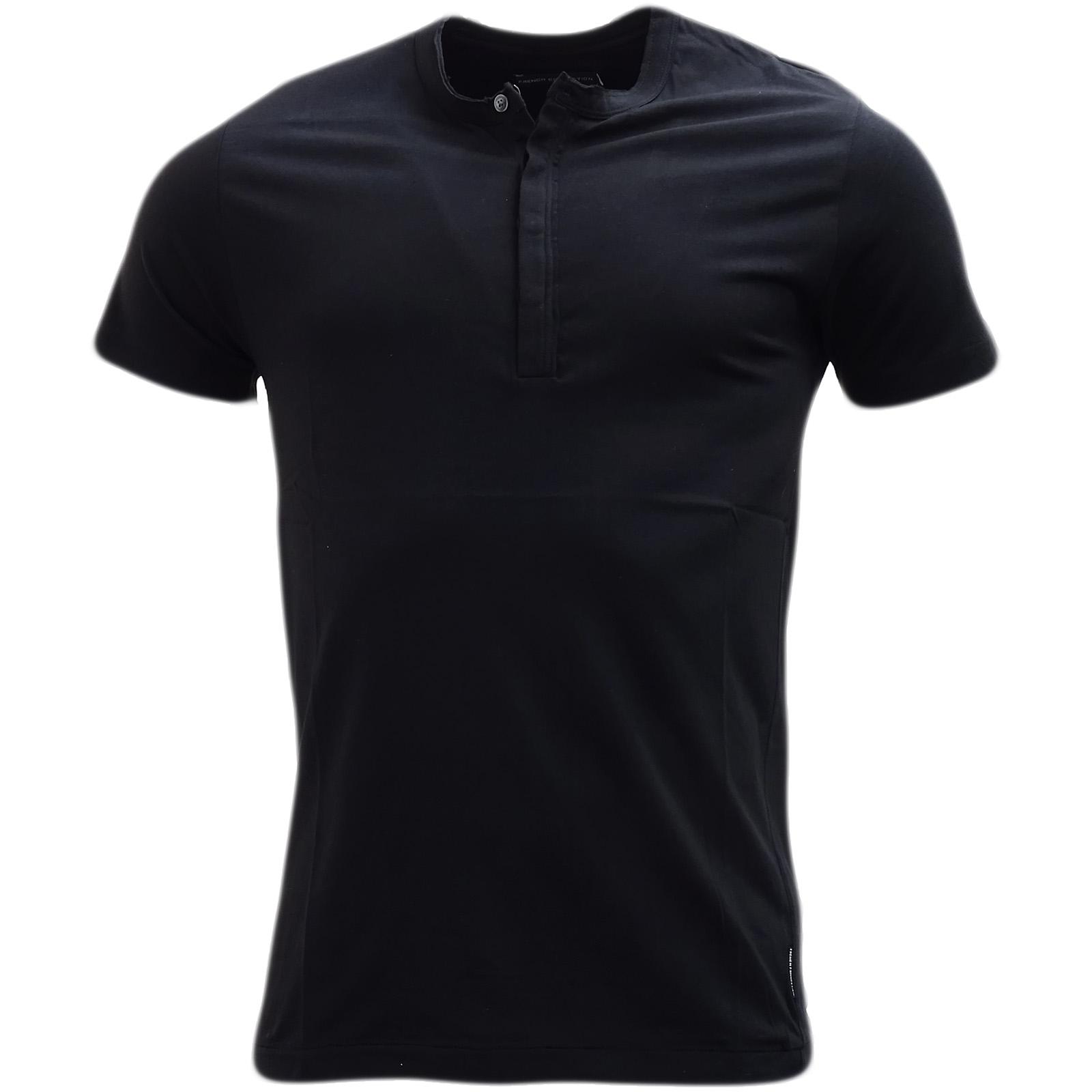 French Connection Darkest Blue Plain Button Front T-Shirt 56Cl6 -