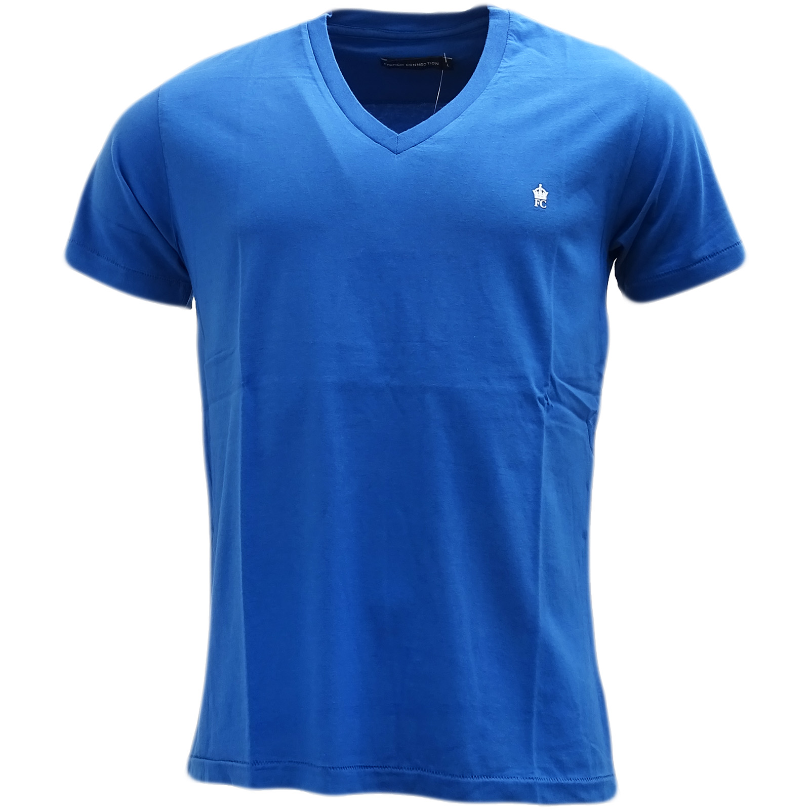 French Connection Blue Plain V Neck T-Shirt 56Izg -
