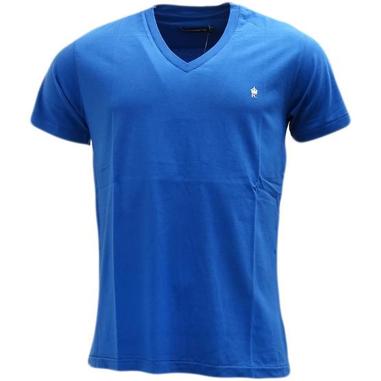 French Connection Blue Plain V Neck T-Shirt 56Izg - Thumbnail 1