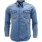 Levi Strauss Blue Barstow Western Light Blue With Stretch Shirt 65816-0253 -