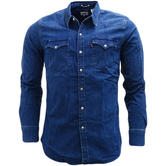 Levi Strauss Denim Barstow Western Dark Blue With Stretch Shirt 65816-0254 -