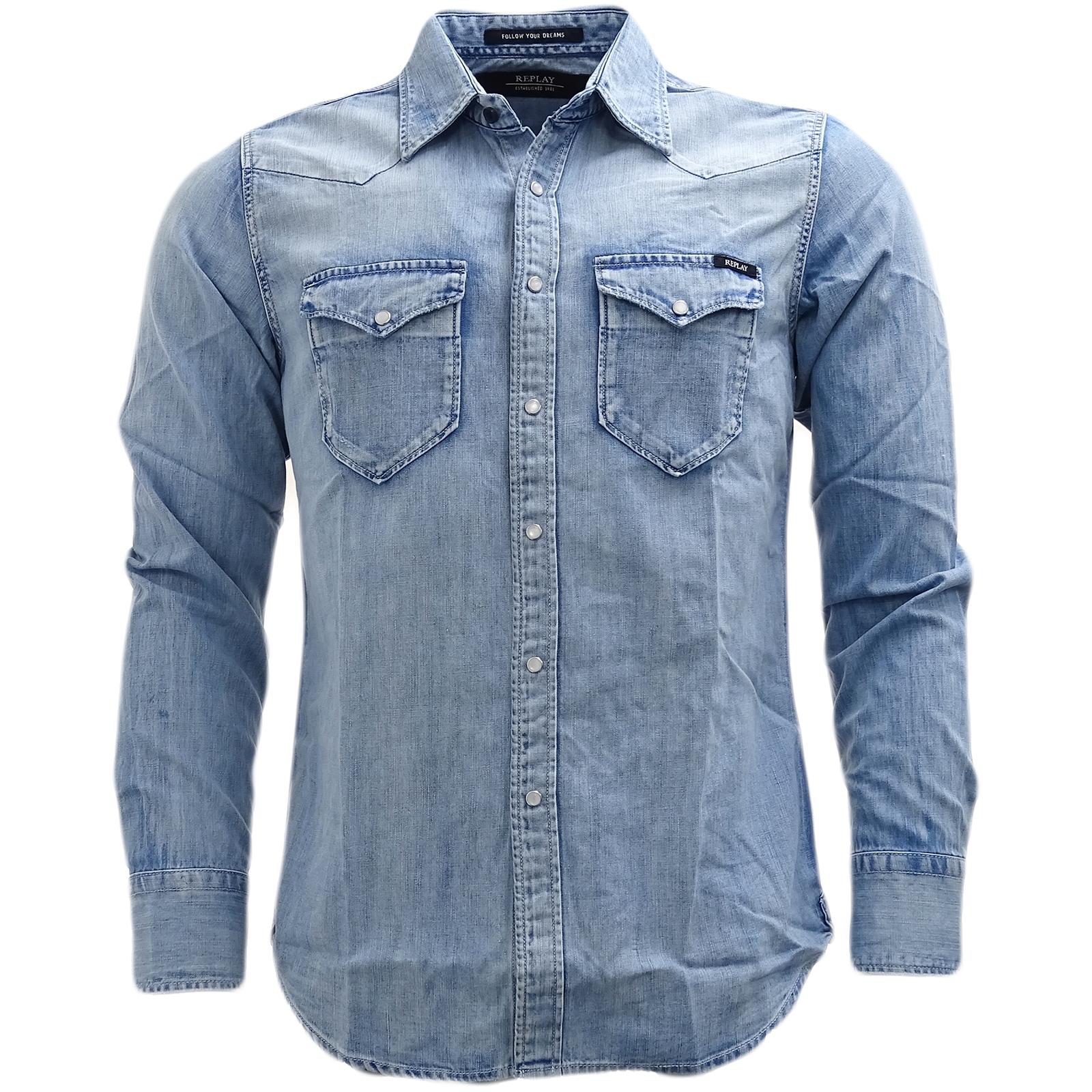 852d864cb Details about Replay Blue Lightweight Popper Front Western Denim Shirt Shirt  - M4981.26C.295.0