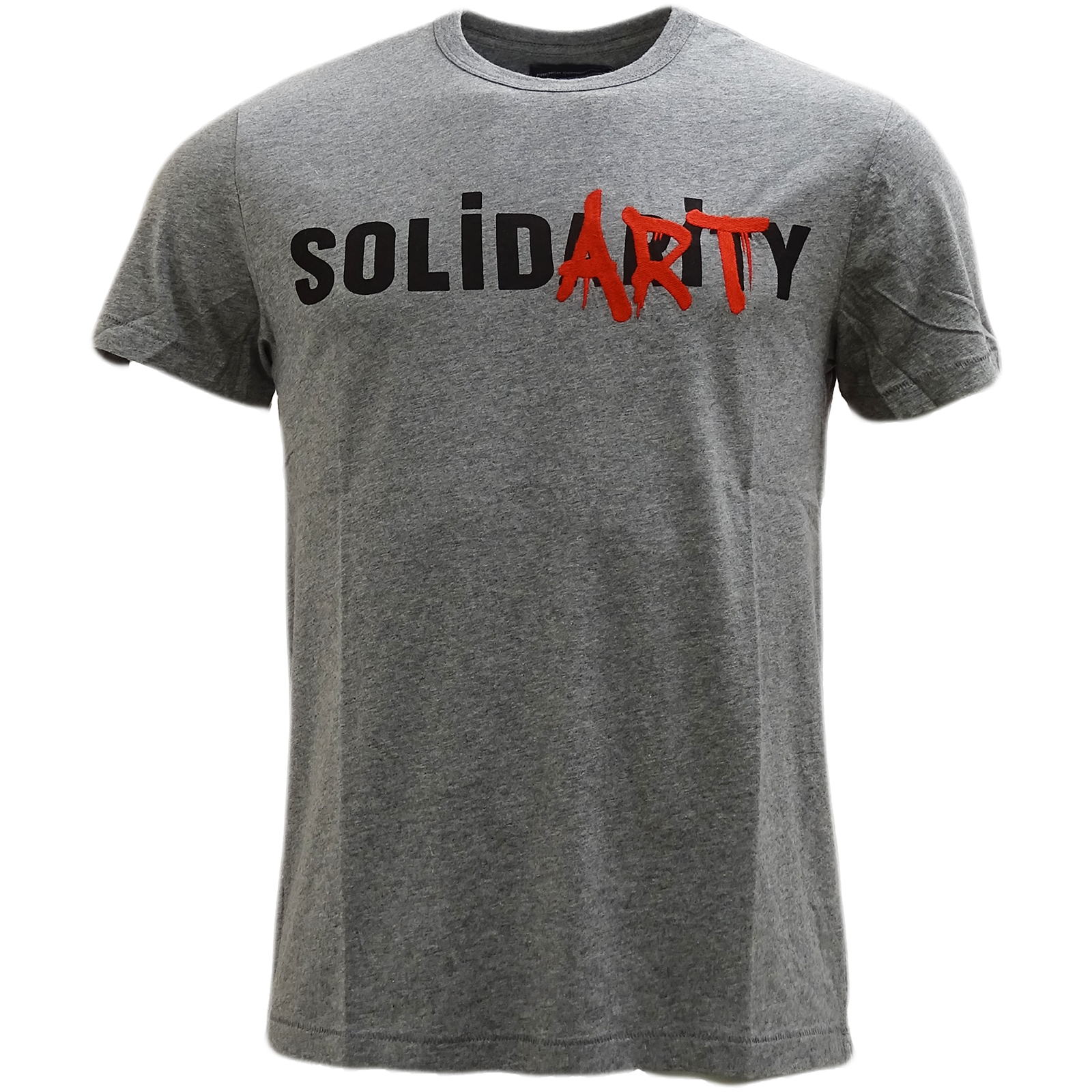 French Connection Charcoal Solidarity Logo T-Shirt 56Jbq -