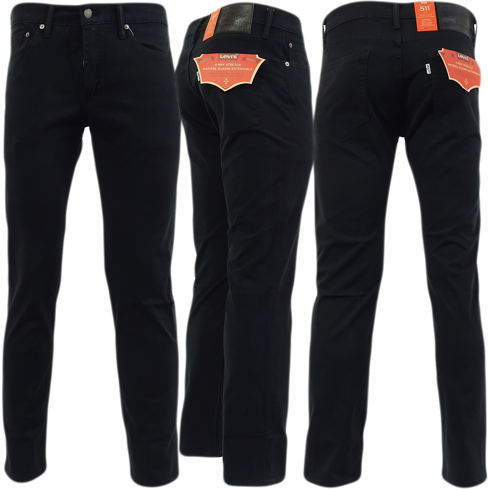 05630b806de Levi Strauss 511 Slim Leg Jean Soft Brushed Feel (Non Denim) Black ...