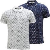 Ben Sherman Mod Flower Retro All Over Pattern Pique Polo Shirt 48949