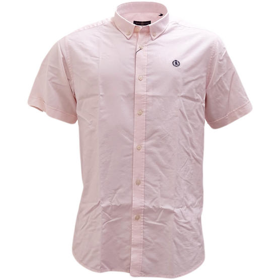 Henri Lloyd Pink Plain Button Down Oxford Shirt Club Ss - Thumbnail 1