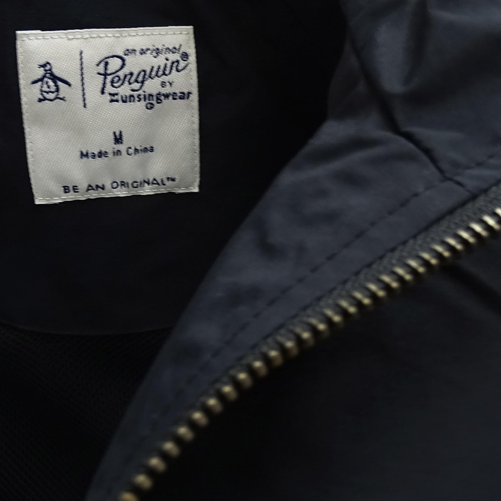 Original-Penguin-tipo-impermeable-ligero-negro-chaqueta-abrigo-de-la-ropa-de-a
