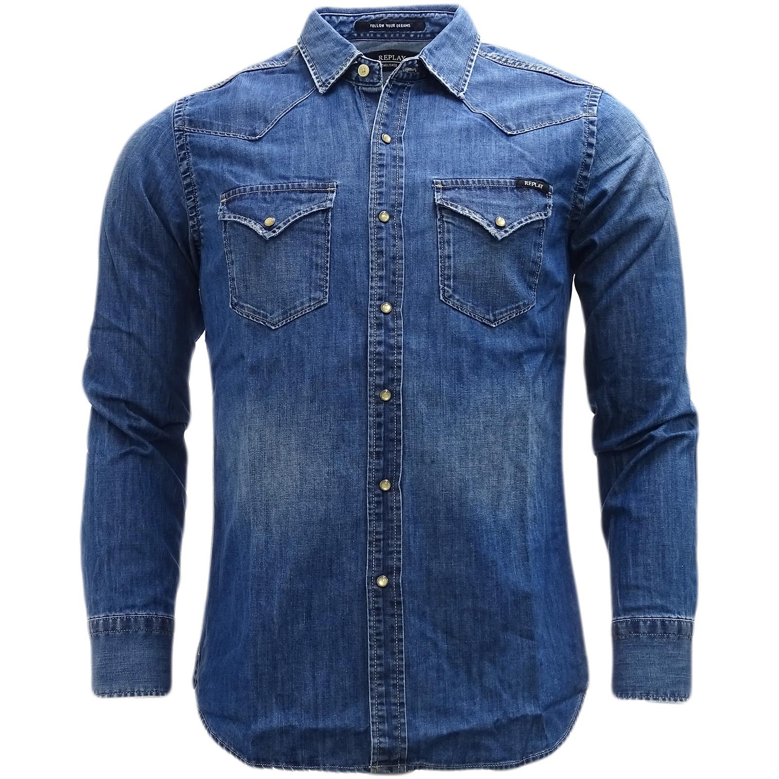 df59def8f6dd Details about Replay Blue Western Style Denim Shirt - M4860-009