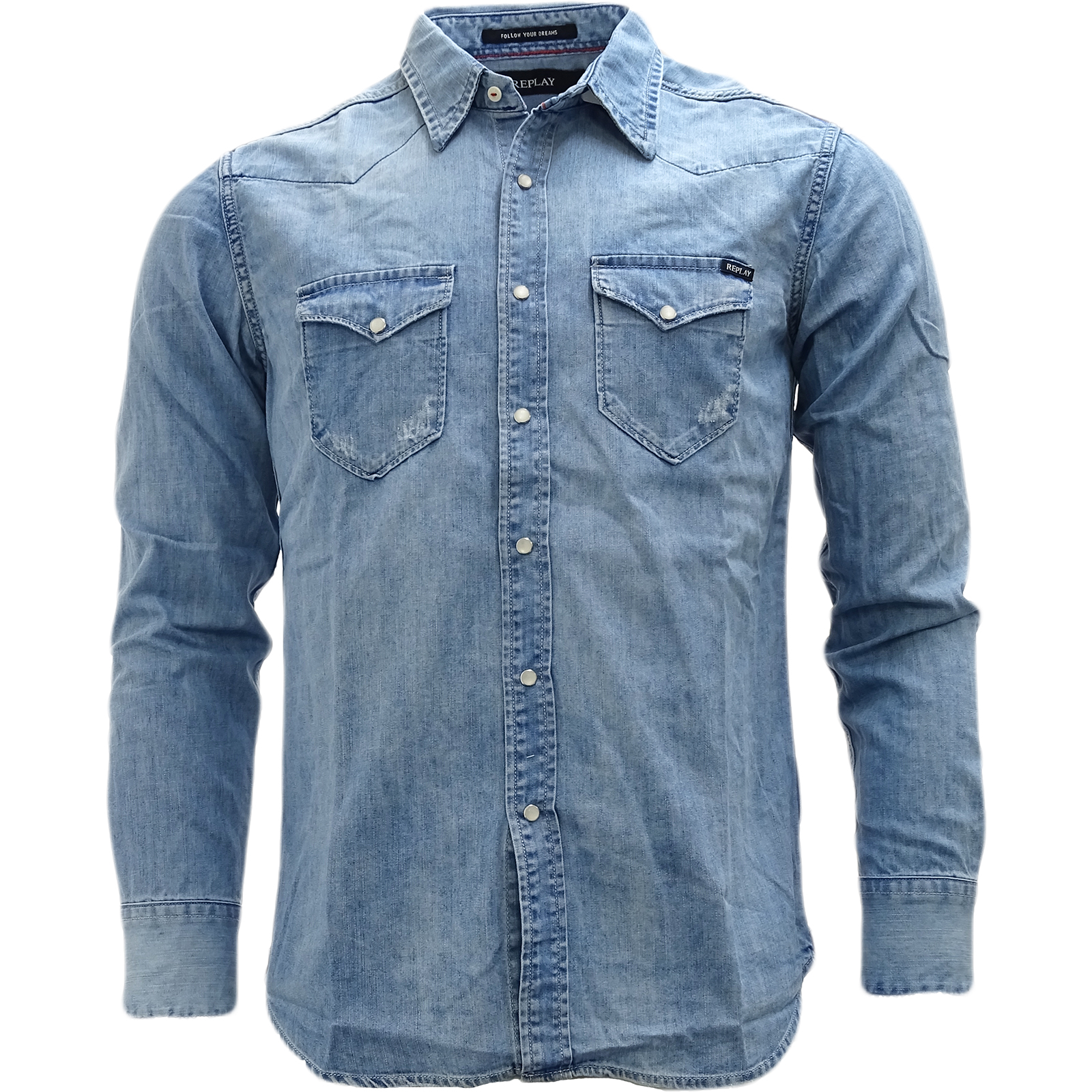 d692b91f69f5 Details about Replay Light Blue Western Style Denim Shirt - M4981-010