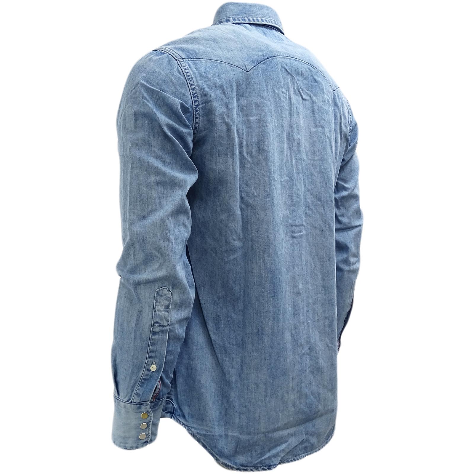 b6d9f4c217c Sentinel Replay Light Blue Western Style Denim Shirt - M4981-010