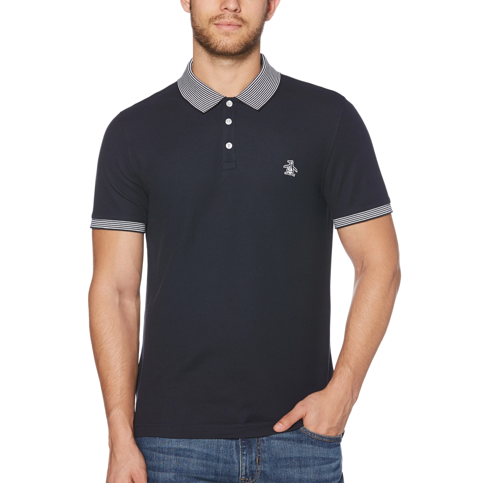 463a9fff2 Sentinel Original Penguin Opks9130 Short Sleeve Collared Polo Shirt