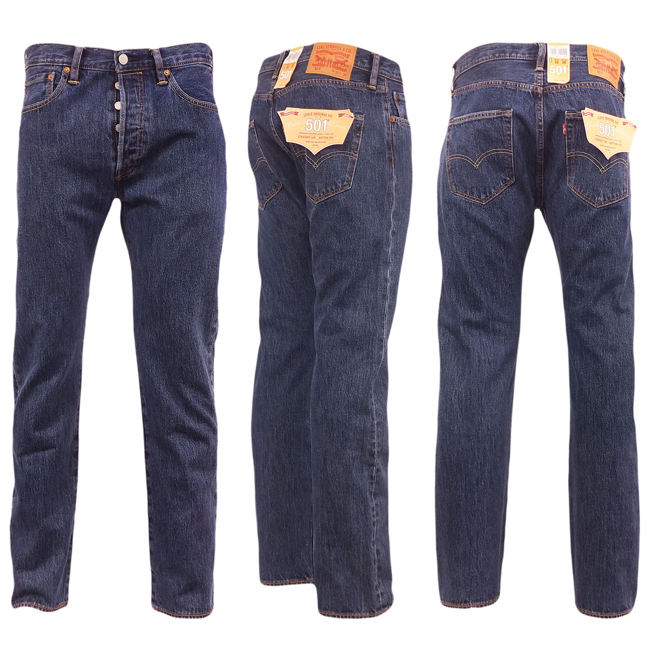 Levi-501-Jeans-Mens-Original-Levi-039-s-Strauss-Denim-Straight-Fit-New-All-Sizes