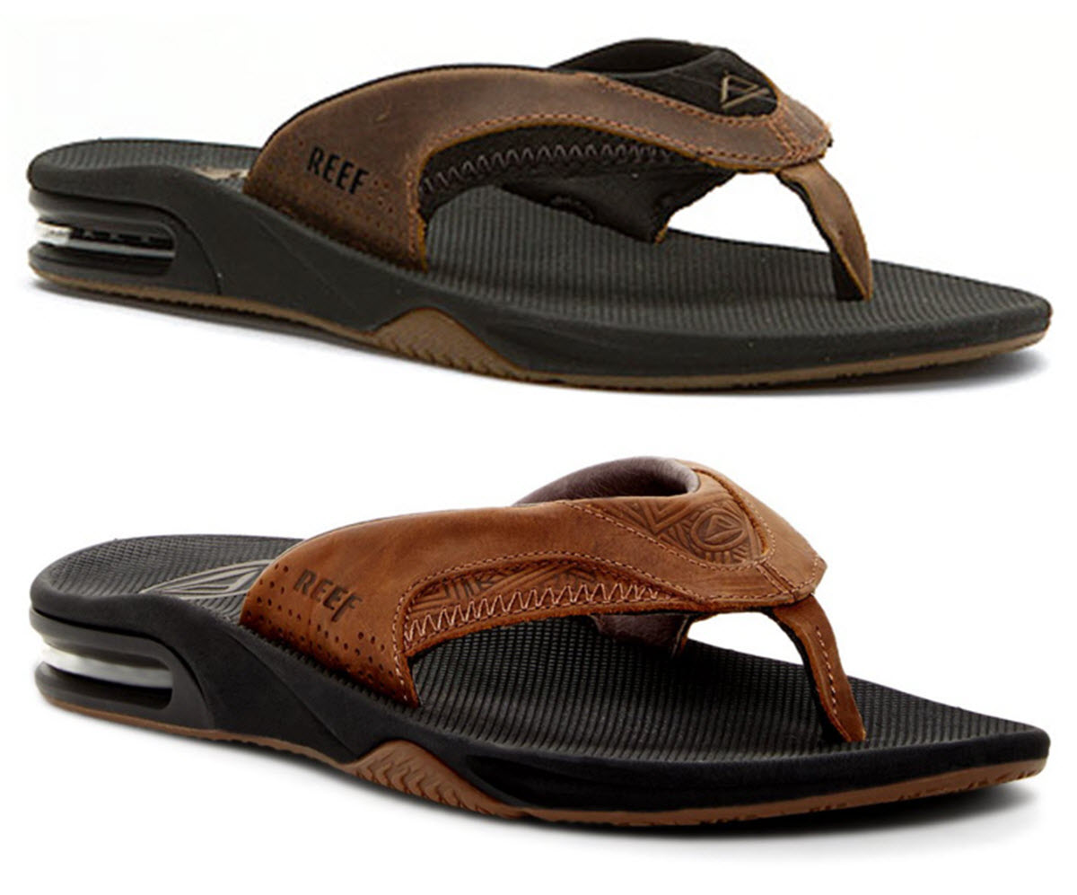 77cceb102ae Details about Reef Sandal - Leather Fanning Flip Flops - Mick Fanning Pro  Model