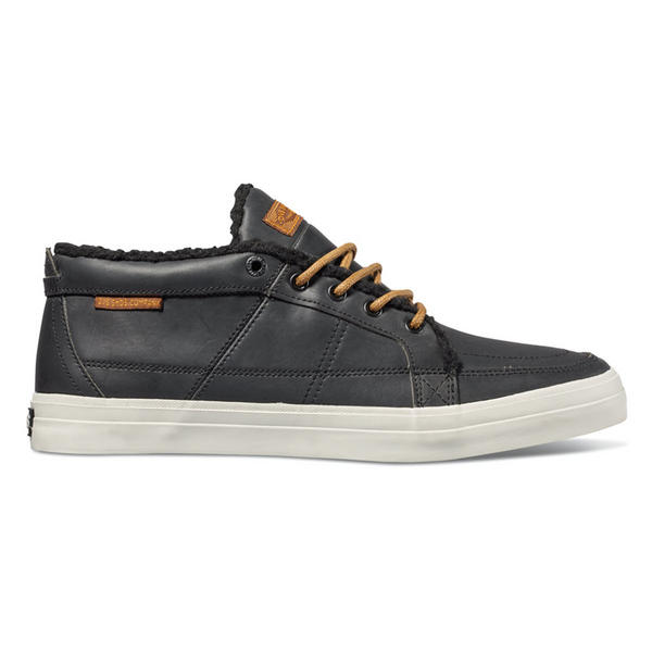 DVS Rivera Skate Shoes Black Crazy Horse Leather with Sherpa Lining