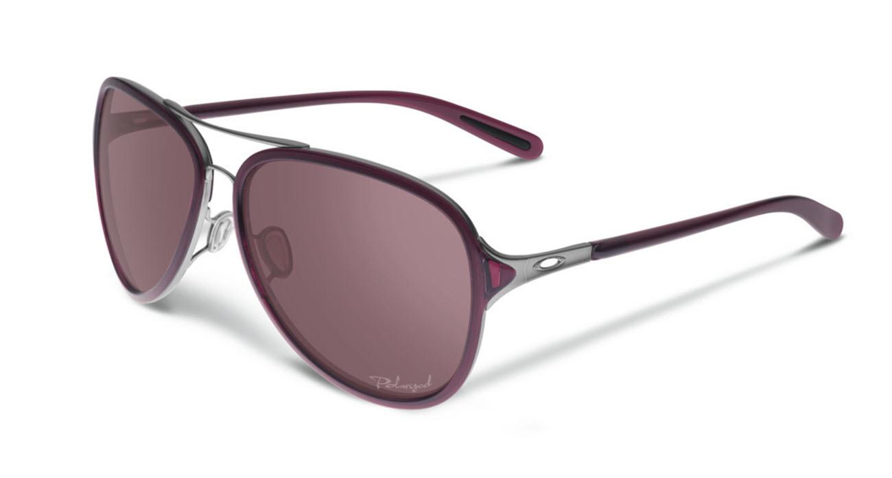 887ced18ae Oakley Womens Kickback Sunglasses in Satin Black Ice Crytal OO Grey  Polarized Lens