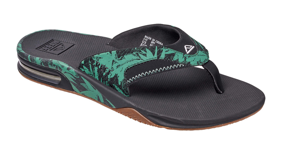 Reef-Sandalia-Fanning-estampado-Chanclas-verde-Botanico-madera-negra-2