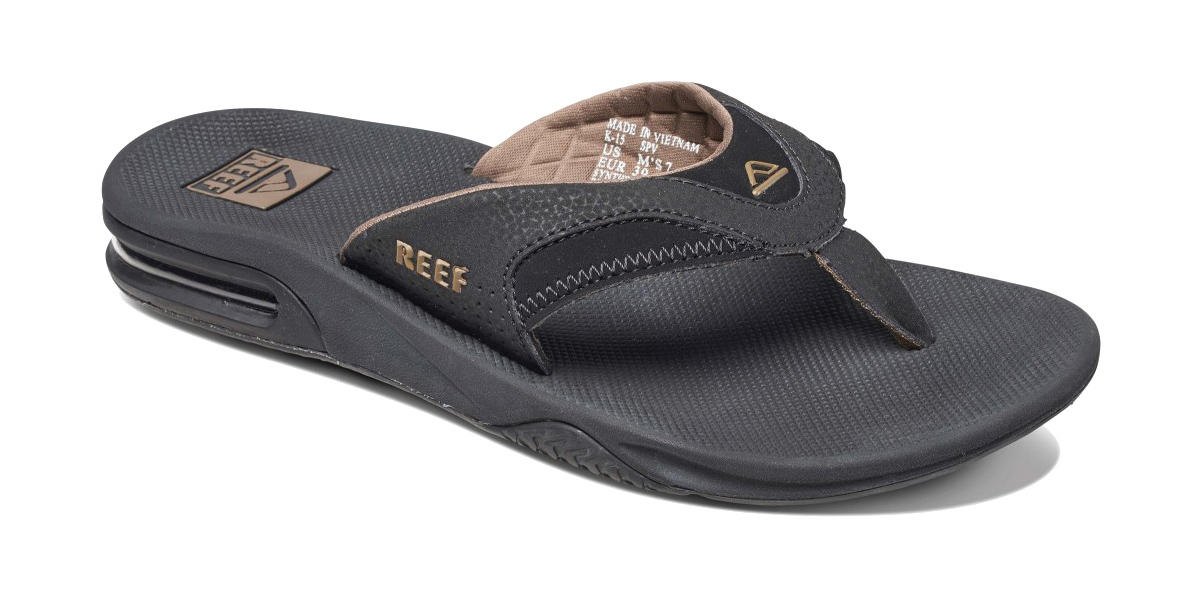 7f69afe7fba9 Reef Fanning Flip Flops · Black-Brown · Black-Tobacco · Grey-Light-Blue