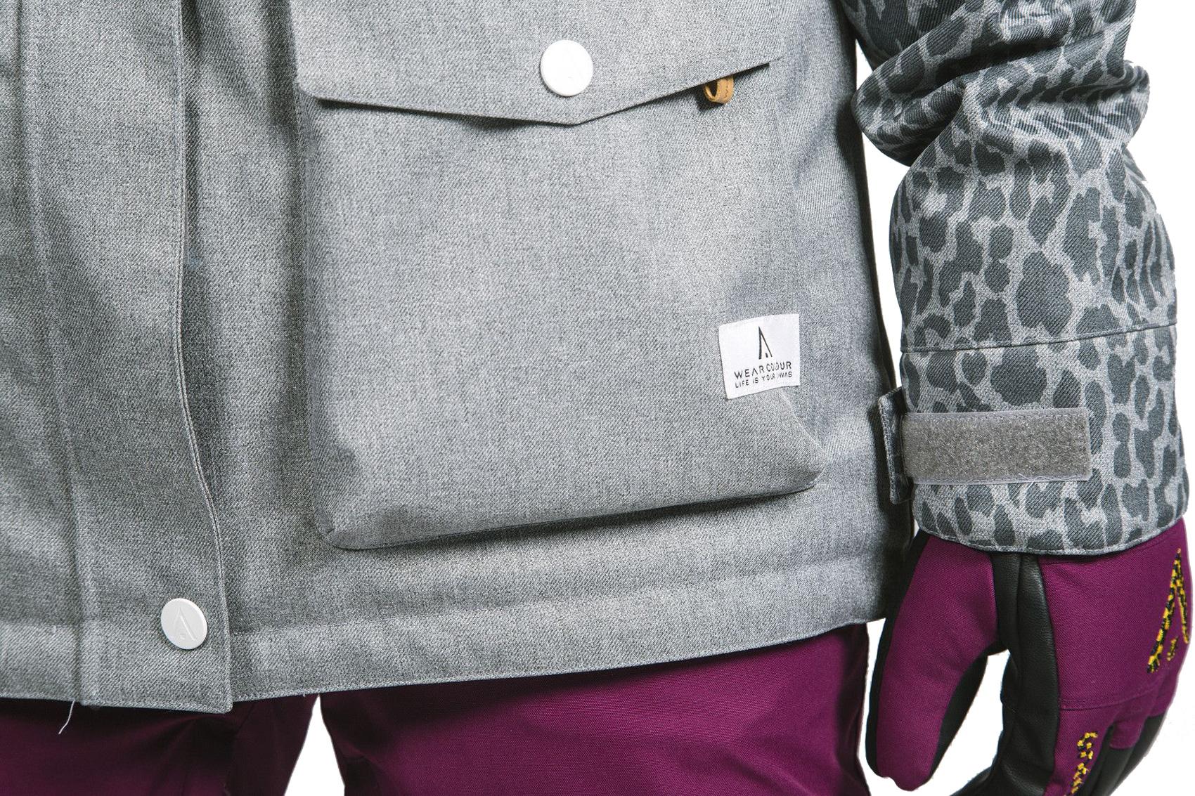 Wear Colour Womens Snowboard Jacket - Crop - Grey Melange 95f6e53c7