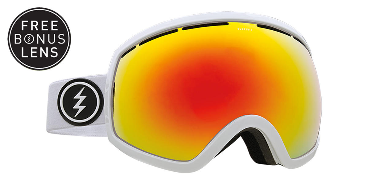 Electric EG2 Snowboard Goggles 2018 - Gloss White w Brose Red Chrome + Bonus Light Green Lens