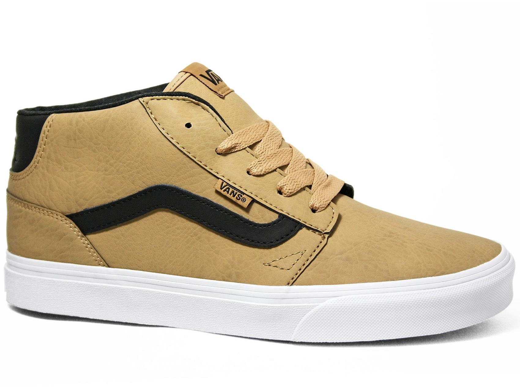 vans vans vans patiner chaussures chapFemme à mi cuir noir, bronzé, mi haut, vrai blanc | De Qualité  e7a9cc