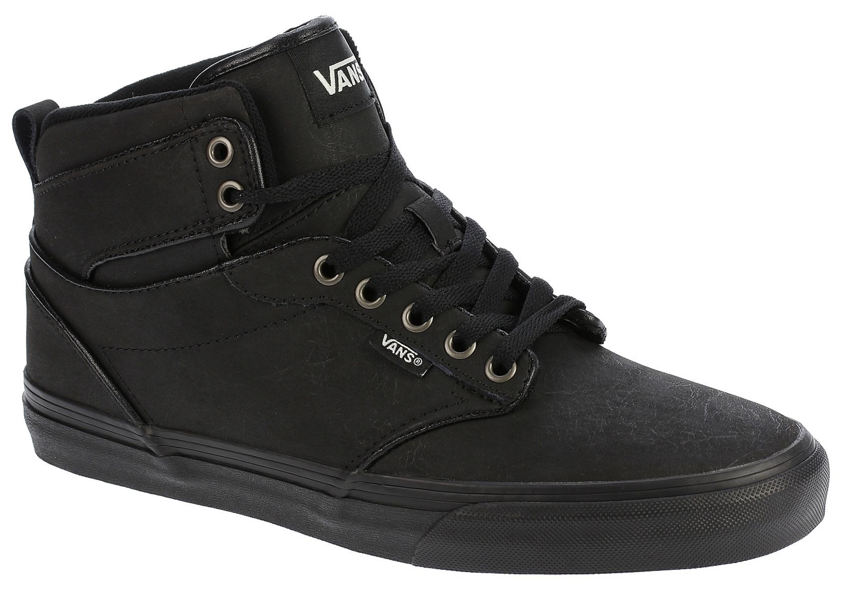 Vans-Chaussures-De-Skate-Atwood-Hi-Cuir-Gris-Frost-Marshmellow-Noir