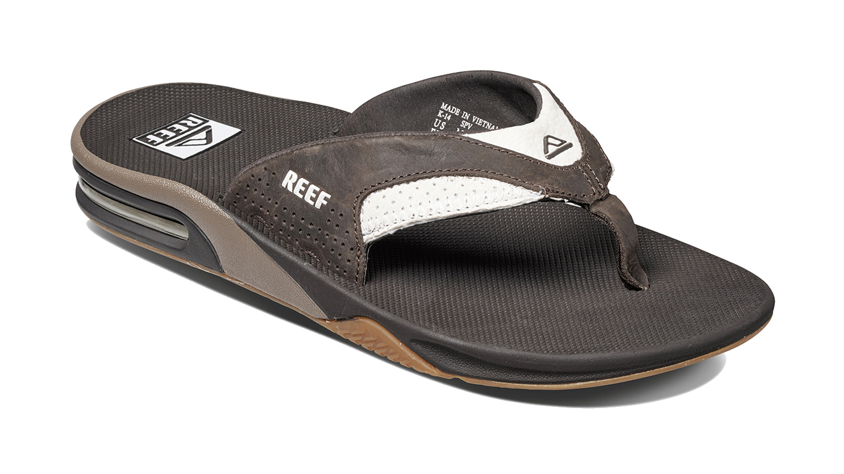 a2f330059ca Reef Leather Fanning Flip Flop