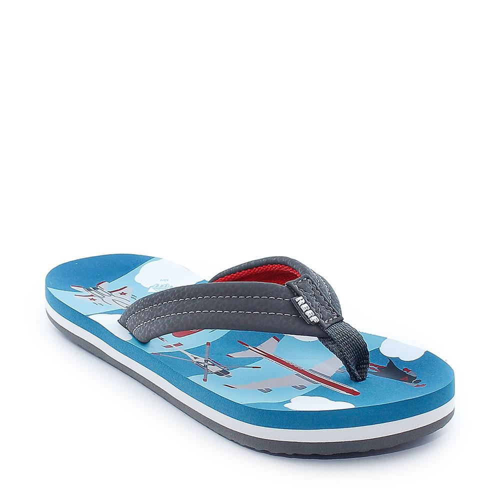 Reef-Flip-Flop-Ninos-Ahi-chicos-Azul-T-Rex-Azul-Marino-Peces-aviones