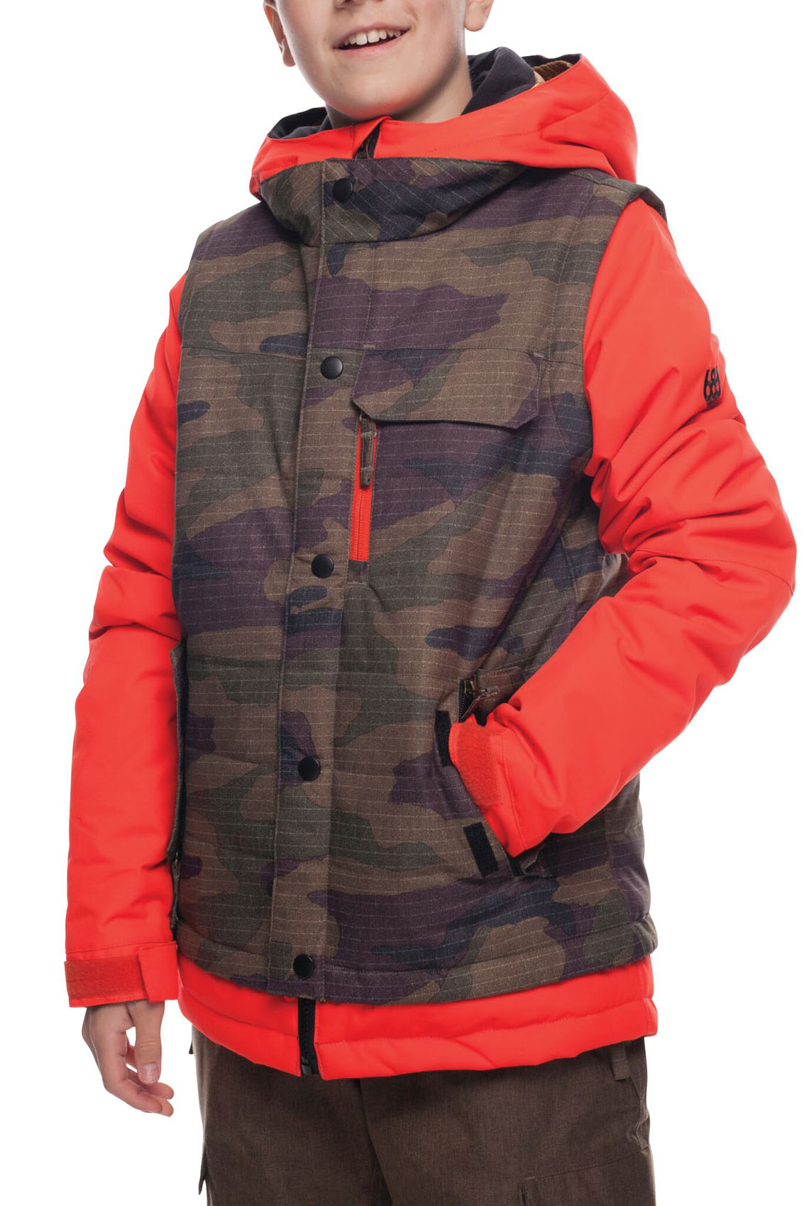 686 Boys Scout Insulated Snowboard Jacket 2019 Infrared Dark Camo Colorblock Medium