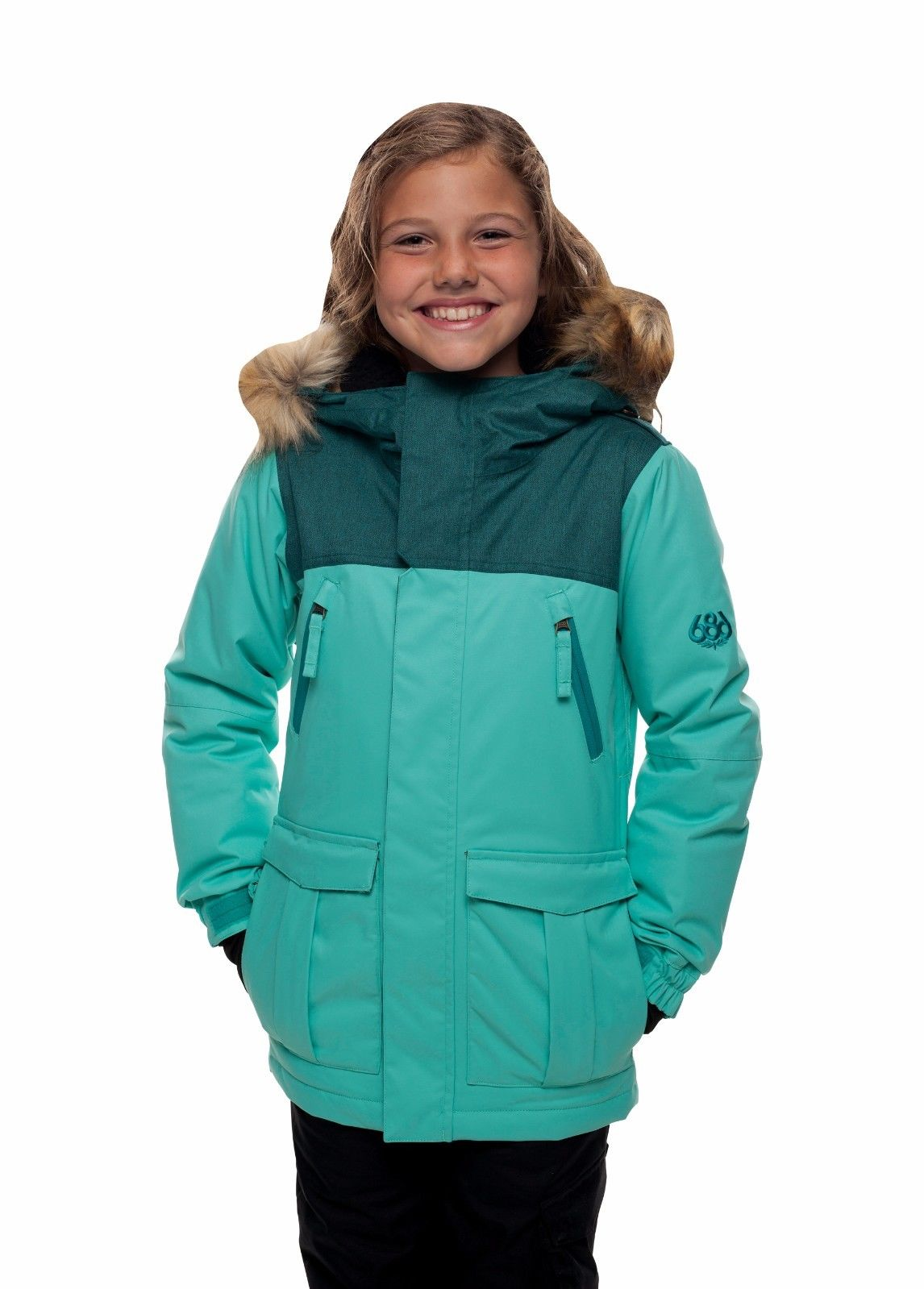 4f85589d559c 686 Harlow Insulated Girls Jacket Aqua Small Age 8 10