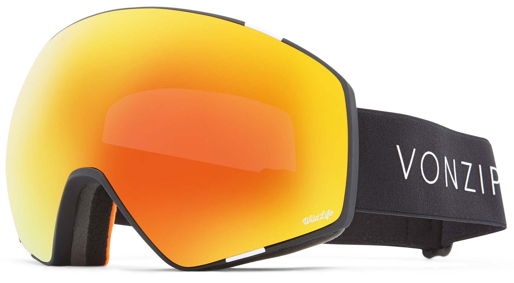545000df3d1d VonZipper Jetpack Goggles 2019 Black Satin Wildlife Fire Chrome + Yellow